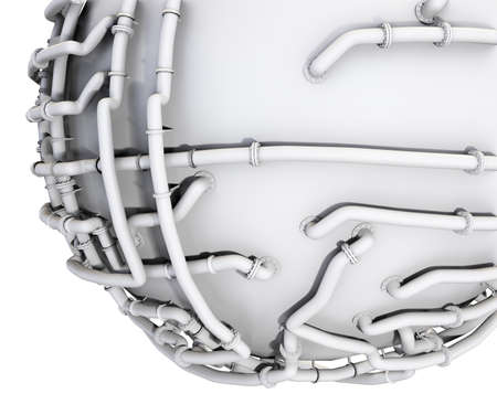 The white sphere is wrapped in a pipeline