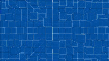 Abstract background of cubes outline. Vector Ilustrace
