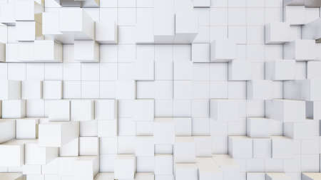 Abstract 3D illustration of white cubes background