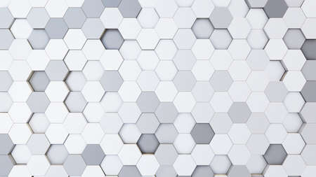 Abstract 3D illustration of colorful hexagons background