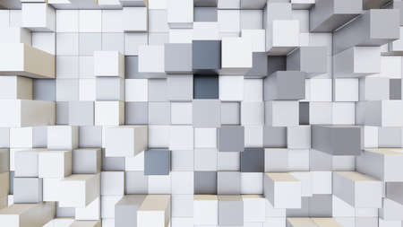 Abstract 3D illustration of colorful cubes background. Random displacement. Good background Stock Photo