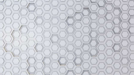 Abstract 3D illustration of hexagons background. Random displacement. Good background