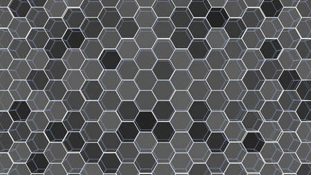 Abstract background of colorful outline hexagons. 3D illustration. Wire-frame style.