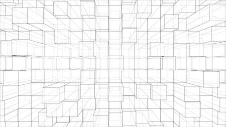 Abstract background of cubes outline. Vector rendering of 3d. Wire-frame style. The layers of visible and invisible lines are separated