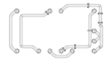Banner is entangled in pipes with flanges. Vector