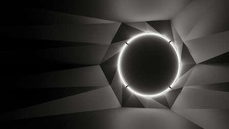 Abstract geometry lit by a neon white circle lamp