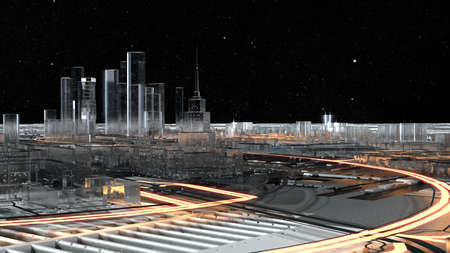 3D city of glass with luminous roads. Starry sky Stock Photo