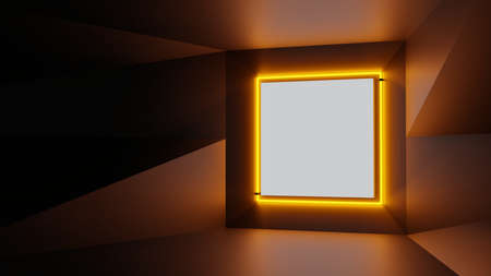 Abstract geometry lit by a neon orange square lamp