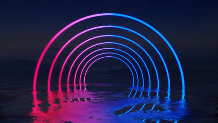 Abstract background with neon circles Standard-Bild - 134901115