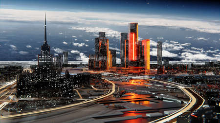 Futuristic city against the atmospheric starry sky Standard-Bild - 134901121