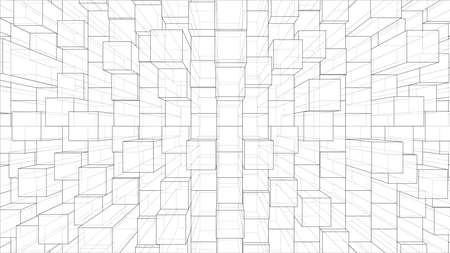 Abstract background of cubes outline. Vector Illustration
