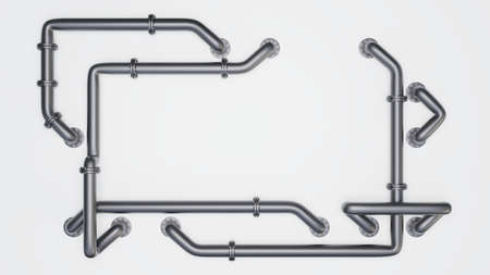 A rectangular banner with an empty space in the middle is entangled in pipes with flanges. Industrial concept. Metal pipes, white background and shadow, 3D rendering
