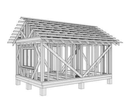 3D illustration of a small frame house Stock fotó
