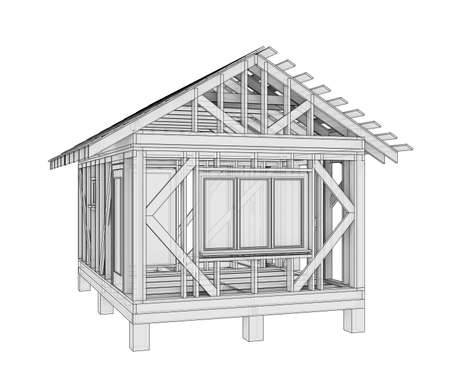 3D illustration of a small frame house Stock Photo