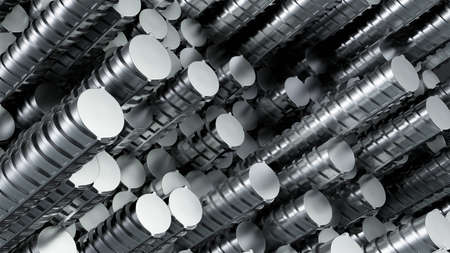 Stainless steel rods in rows. Randomly located 版權商用圖片