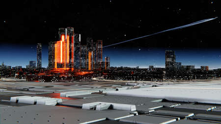 Futuristic city against the atmospheric starry sky