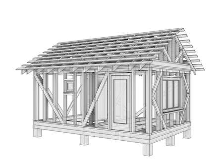 3D illustration of a small frame house. Isolated on a white background