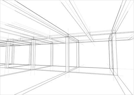 Drawing of a house under construction. Vector