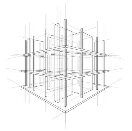 Dibujo o croquis de una casa en construcción. Sitio de construcción. Línea principal, contorno de espalda y líneas auxiliares. Vector de 3d.