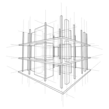 Drawing or sketch of a house under construction. Construction site. Main line, back contour and auxiliary lines. Vector made from 3d. Ilustração