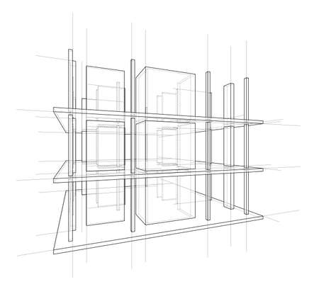 Drawing or sketch of a house under construction. Construction site. Main line, back contour and auxiliary lines. Vector made from 3d. 向量圖像