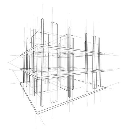 Drawing or sketch of a house under construction. Construction site. Main line, back contour and auxiliary lines. Vector made from 3d.