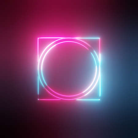 Neon light circles and square frames
