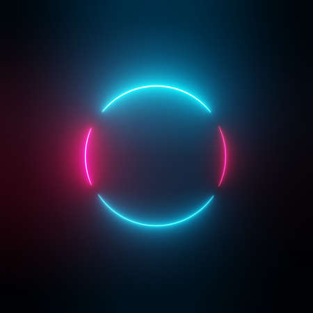 Neon light circle frame on dark background
