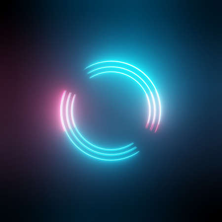 Neon light circles frame on dark background