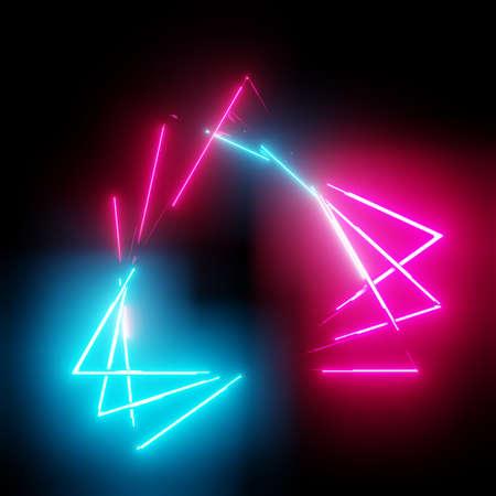 Neon light triangles frame on dark background