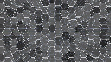 Abstract background of colorful outline hexagons 스톡 콘텐츠