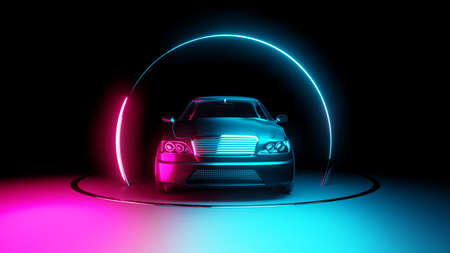 Car with neon light circle frames