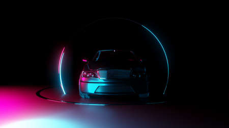 Car with neon light circle frames on dark background. 3D illustration