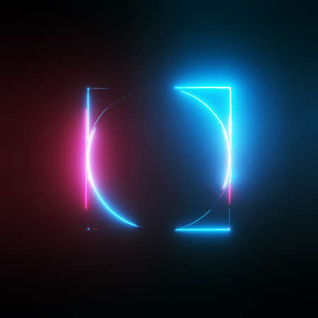 Neon light circle and square frames on dark background. 3D illustration