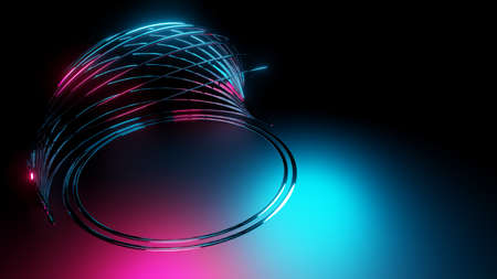 Neon light with abstract shell consists of circles on dark background. 3D illustration