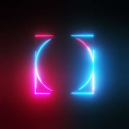 Neon light circle and square frames