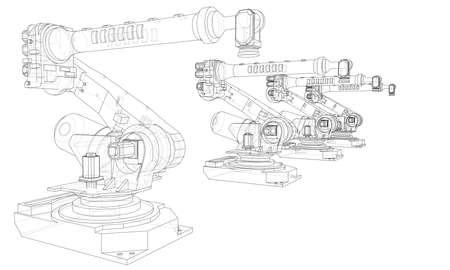 A industral robots manipulators. Blueprint style. Vector rendering from 3D model Ilustración de vector