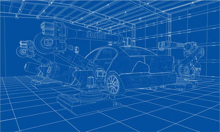 Assembly of motor vehicle. Robotic equipment makes Assembly of car. Blueprint style. Vector rendering from 3D model Vektorové ilustrace