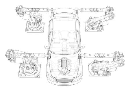Assembly of motor vehicle. Vector