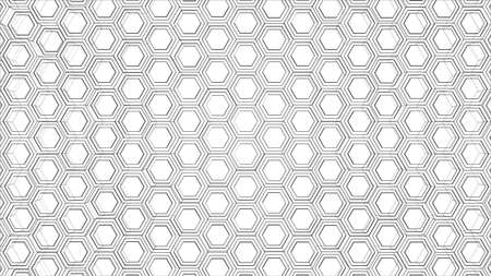 Abstract background of hexagons outline. Vector rendering of 3d. Wire-frame style. The layers of visible and invisible lines are separated