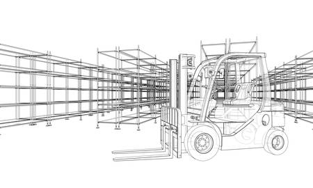Warehouse shelves and forklift. Blueprint style. Vector rendering from 3D model
