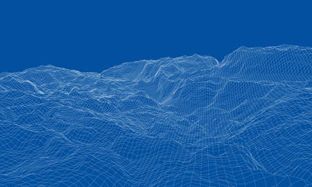 Abstract 3d wire-frame landscape. Blueprint style. Vector rendering from 3D model. Geology Terrain