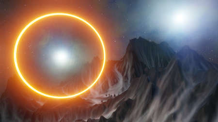 Abstract background of mountains and orange neon circle. Space for your product. 3D illustration