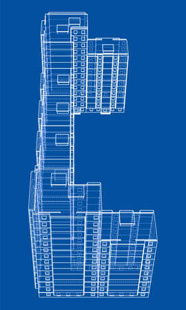 Vector wire-frame model of a multi-storey building Vector Illustratie