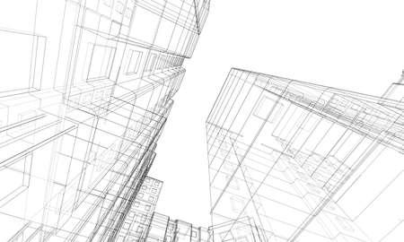Vektordrahtmodell eines mehrstöckigen Wohngebäudes. Baukonzept. Zeichnungs- oder Blaupausenstil. Vektor aus 3D-Modell Vektorgrafik