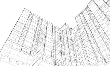 Vektordrahtmodell eines mehrstöckigen Gebäudes Vektorgrafik