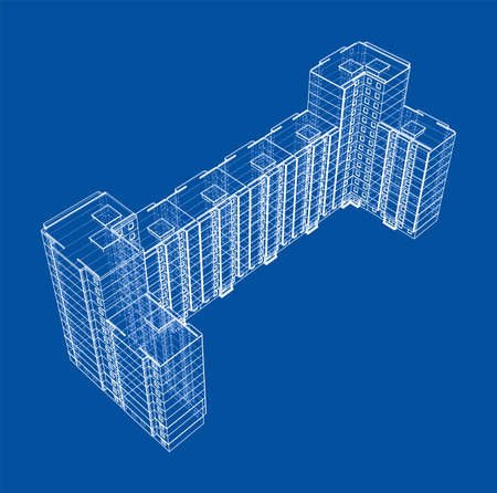 Vector wire-frame model of a multi-storey building Vetores
