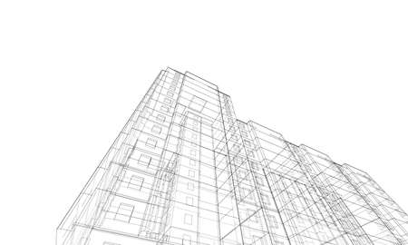 Vector wire-frame model of a multi-storey building