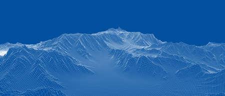 Abstract 3d wire-frame landscape. Blueprint style Vektorgrafik