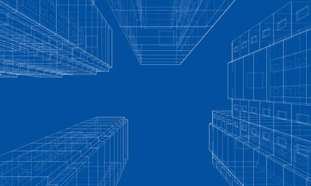 Modèle vectoriel filaire d'un immeuble résidentiel à plusieurs étages. Notion de construction. Style de dessin ou de plan. Vecteur fabriqué à partir d'un modèle 3d